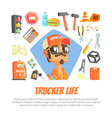trucker life banner template driver character vector image vector image
