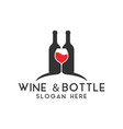 wine bottle logo design template isolated vector image vector image