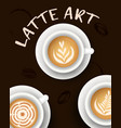 with realistic white cups with coffee collection vector image