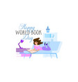world book day holiday poster - flat design vector image vector image