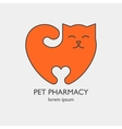 Single logo with a cat in a heart shape vector image
