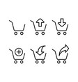 line shopping trolley icons on white background vector image