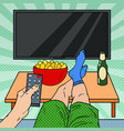 watching tv man holding remote control vector image