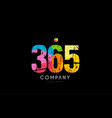 365 number grunge color rainbow numeral digit logo vector image vector image