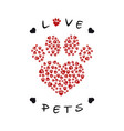 a paw print made with heart shape vector image vector image