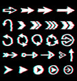 arrows glitch icons digital noise effect pointers vector image