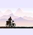 bikepacking in mountain landscape traveling man vector image