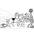 black and white coloring page happy cowgirl vector image vector image