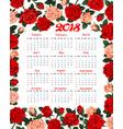 calendar 2018 floral flowers roses design vector image vector image