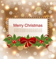 christmas elegant card with holly berry vector image vector image