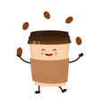 coffee paper cup juggles with coffee beans vector image vector image