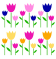 Colorful spring Tulips set isolated on white vector image vector image