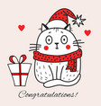 congratulatory card with a white cat in a red hat vector image vector image