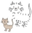 Connect the dots to draw the cute cat and color it vector image vector image