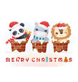 cute animals on chimney in winter season vector image vector image