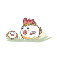 cute cartoon easter chicken with baby chick vector image