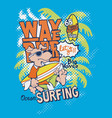 cute dog wave rider surfing team vector image vector image