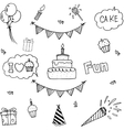 Cute element party doodle vector image vector image