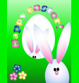 easter greeting card invitation banner rabbits vector image