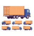 euro truck with orange metal container vector image vector image