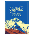 everest in himalayas nepal china outdoor vector image vector image