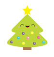 fir christmas tree with star top tip light ball vector image
