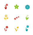 flowers glyph color icon set vector image