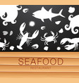 fresh seafood silhouette template vector image