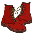 Funny dark red boots vector image vector image