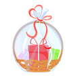 gift basket holiday celebration present with bow vector image vector image