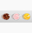 glass orange juice cola and milkshake top view vector image