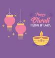 happy diwali festival diya lamp candle lamps vector image vector image
