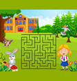 help the girl to find her school maze game vector image vector image