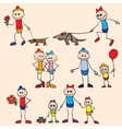 Little toy men play run jump vector image vector image