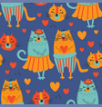 love cat hand drawn seamless pattern vector image vector image