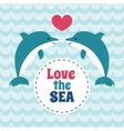 love sea summer card with pair love vector image vector image