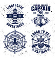 maritime set emblems in vintage style vector image