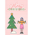merry christmas woman decorating xmas pine tree vector image vector image