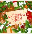 new year santa gifts greeting card vector image vector image