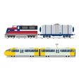 Passenger and transportation trains vector image