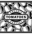 Retro Tomato Harvest Label Black And White vector image vector image