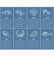scallop and clam posters set vector image vector image