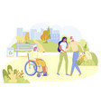 senior man visiting disabled wife in nursing home vector image vector image