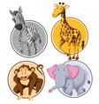 set of wild animal circle banner vector image