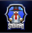snowman mascot logo design vector image