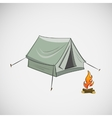 Stock tent and a bonfire on light background vector image