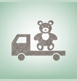 truck with bear brown flax icon on green vector image vector image