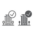 verified line and glyph icon hotel and review vector image