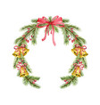 watercolor christmas wreath with fir vector image vector image