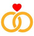 wedding rings flat icon vector image
